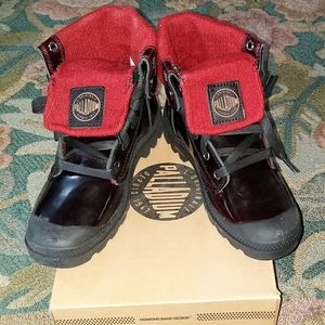 Palladium red patent leather boots-NEW-rare find!